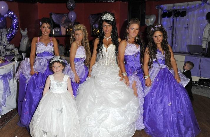 bad bridesmaid style ugly bridal party photos wedding fun purple nurple