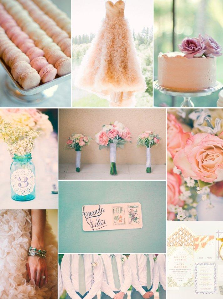 romantic wedding color palette peach pink lilac sage