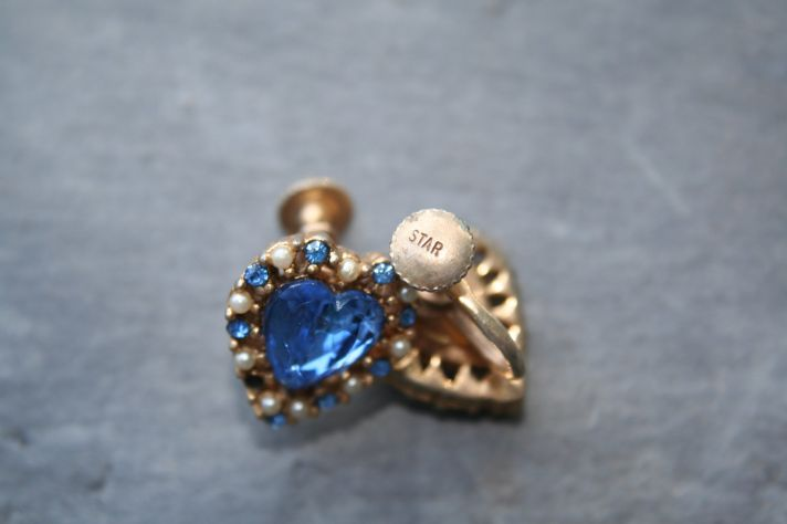 something blue bridal earrings heart shaped