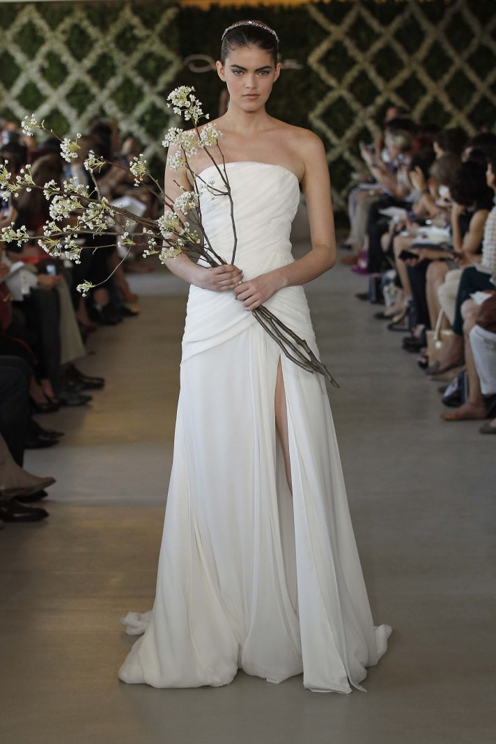 shirred wedding dresses Oscar de la Renta 2013 bridal gown