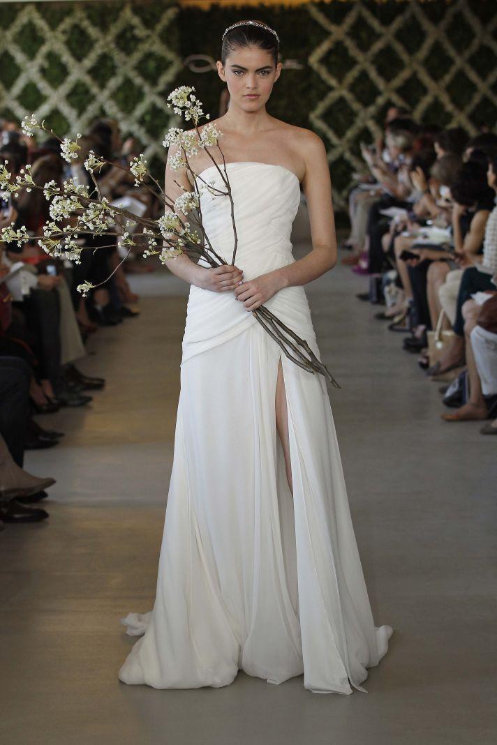 Shirred beautiful bridal gowns onewed for De la renta wedding dresses