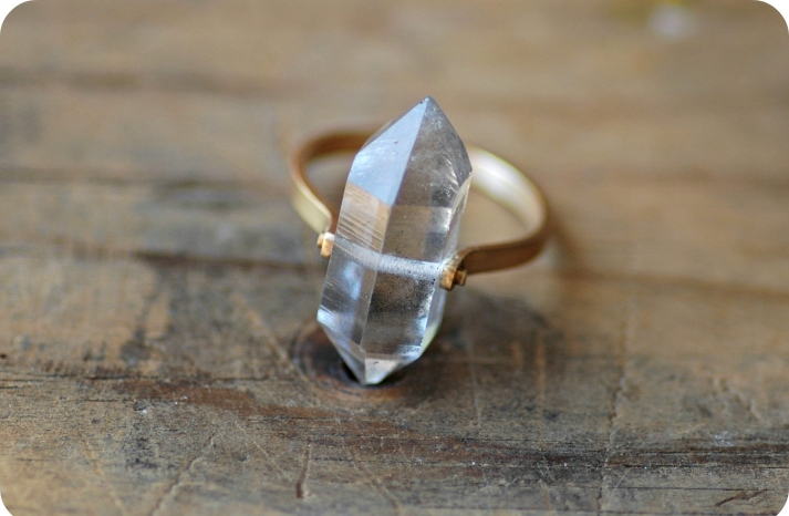 unique diamond engagement rings wedding jewelry with rough Herkimer stones 9