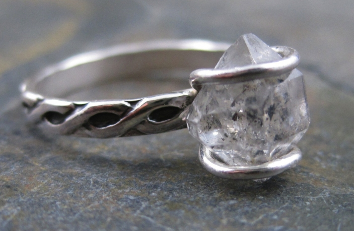 unique diamond engagement rings wedding jewelry with rough Herkimer stone 4