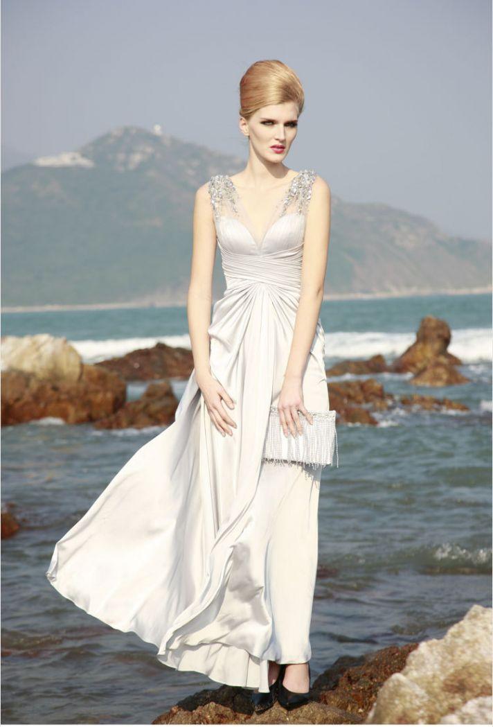 unique wedding dresses non white bridal gown silk silver 1