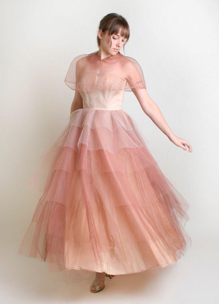 unique wedding dresses non white bridal gown vintage tulle ombre 2
