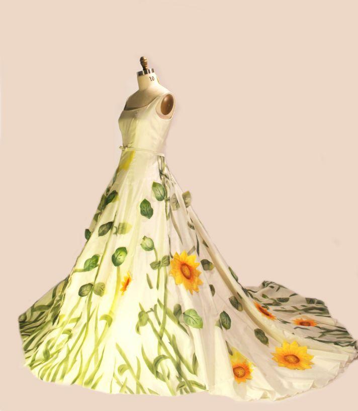 unique wedding dresses non white bridal gown sunflowers