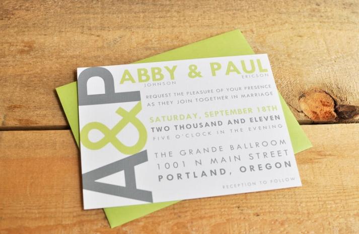 wedding invitations for modern weddings Etsy wedding finds celery gray