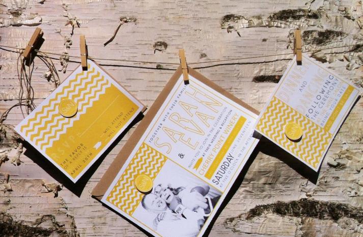 wedding invitations for modern weddings Etsy wedding finds yellow chevron