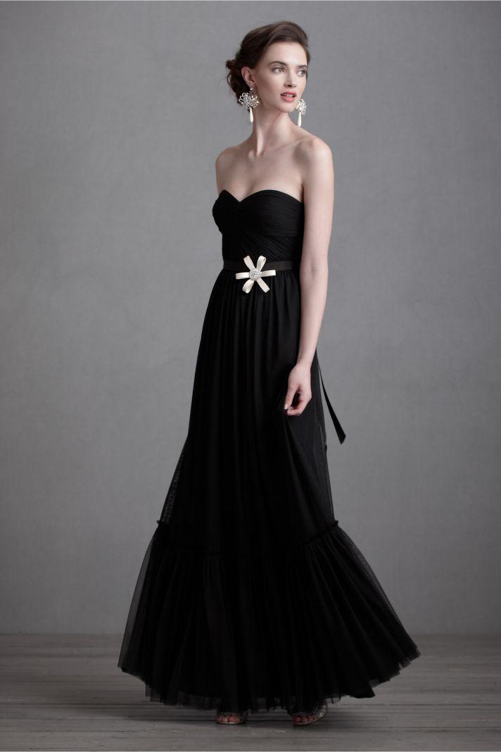 black bridesmaid dresses for downtown chic weddings BHLDN