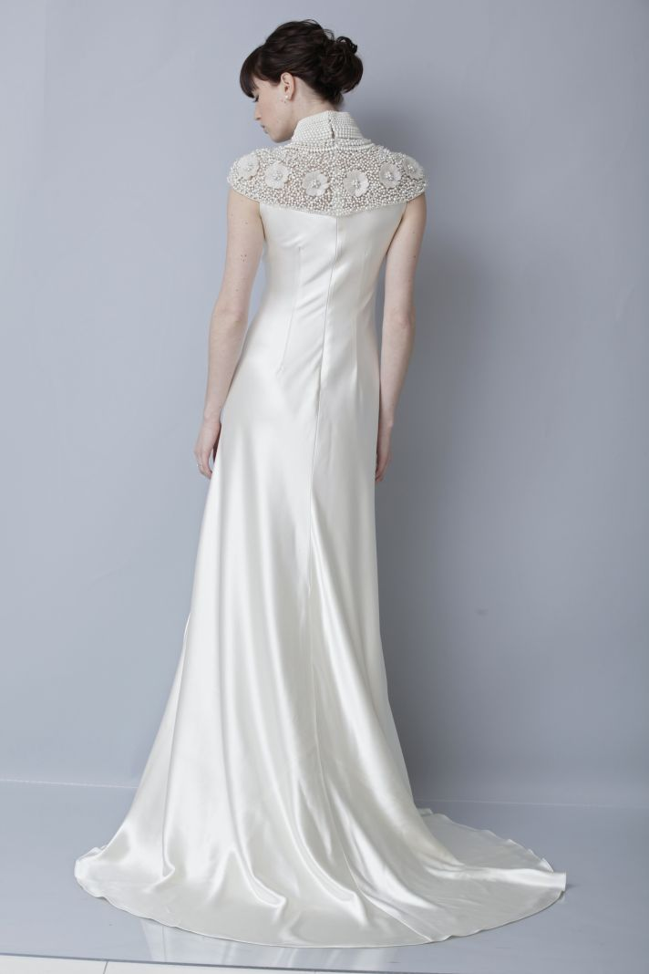 2013 wedding dress by Theia bridal gowns silk cap sleeves