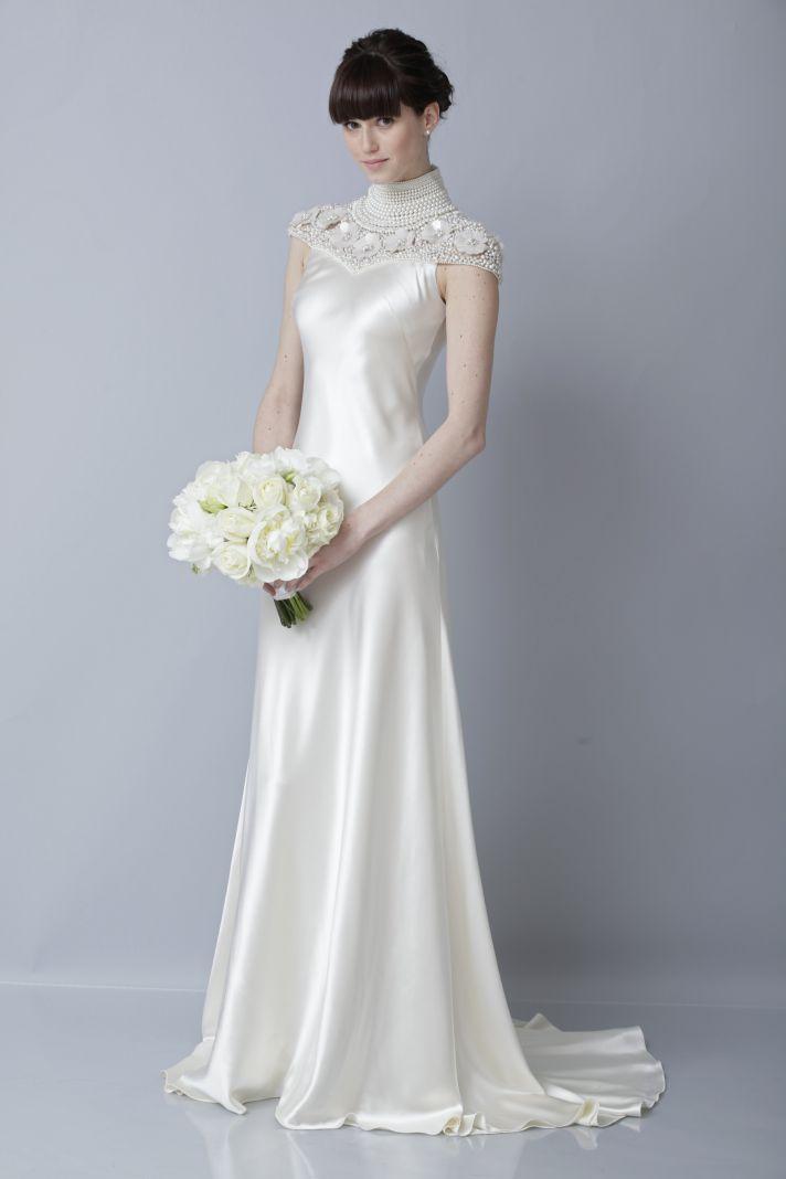 2013 wedding dress by Theia bridal gowns silk cap sleeves