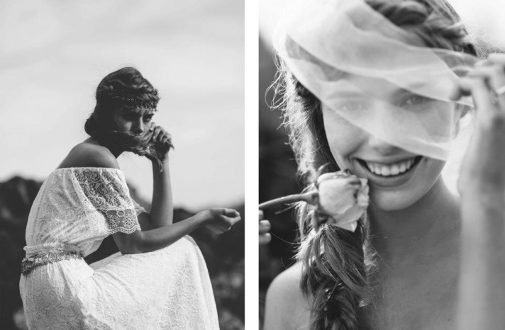 bohemian bride at a beach wedding bridal gown beauty inspiration 7
