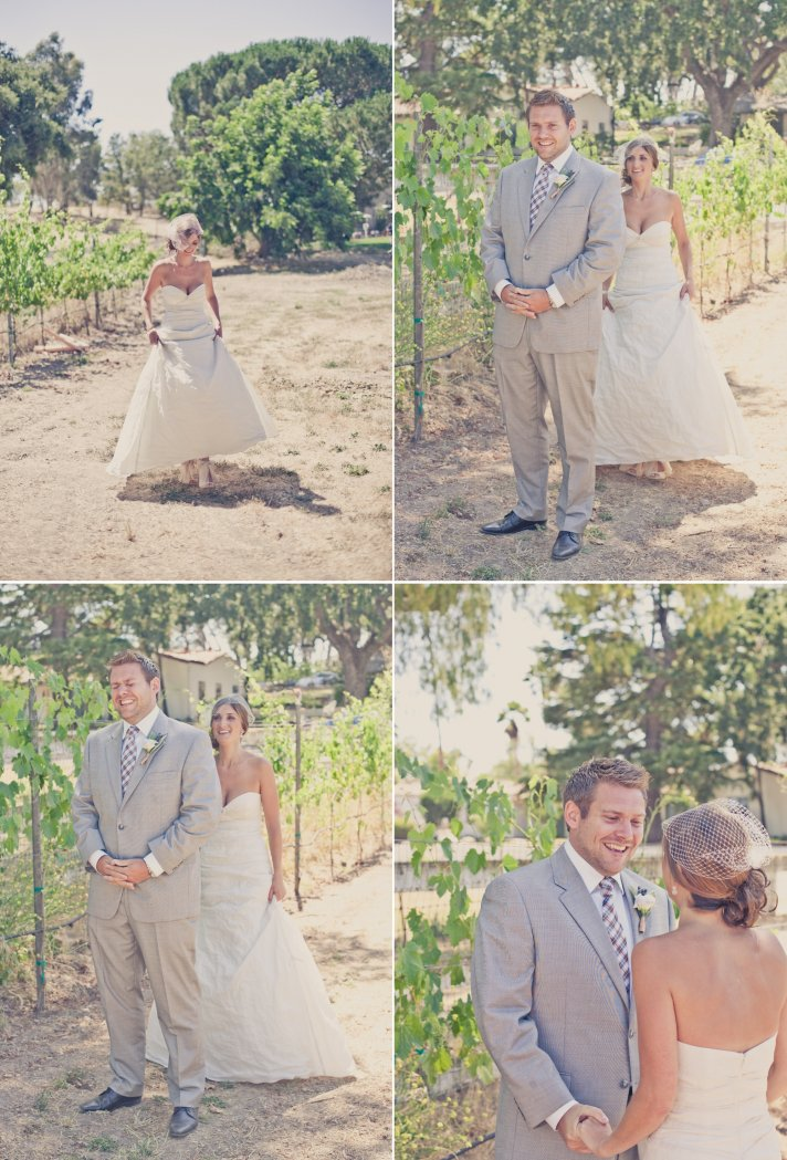elegant real weddings peach lavender outdoor wedding first look between bride and groom 1