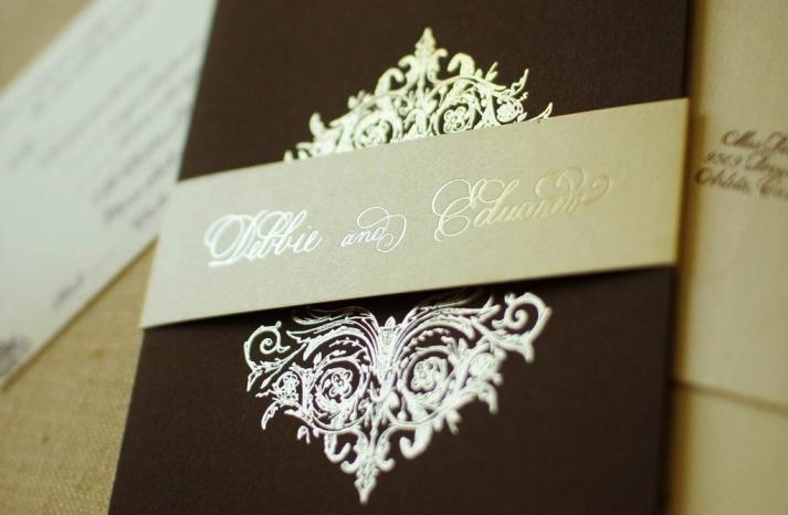 gilded wedding invitations Etsy weddings stationery chocolate brown gold champagne