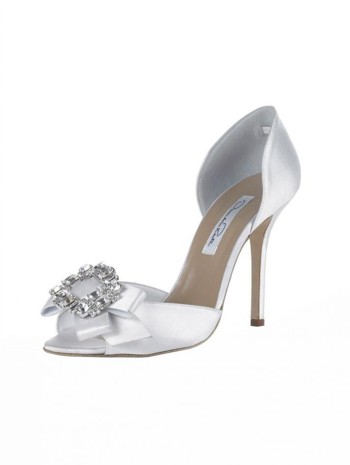 bridal shoes Oscar de la Renta wedding heels white satin dorsay tulle poof