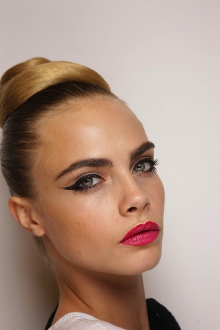 wedding hair makeup trends from fashion week vintage inspired updo cat eyes