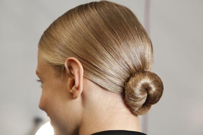 wedding hair ideas from fashion week Ralph Lauren low bridal bun