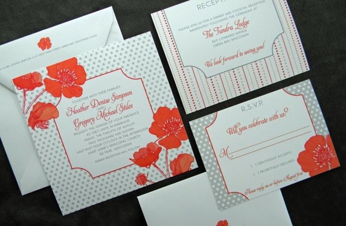 wedding inspiration from Etsy polka dots orange gray poppy invites