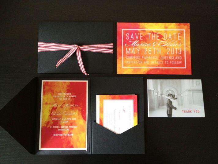 watercolor wedding invitations handmade weddings by Etsy bold sunset