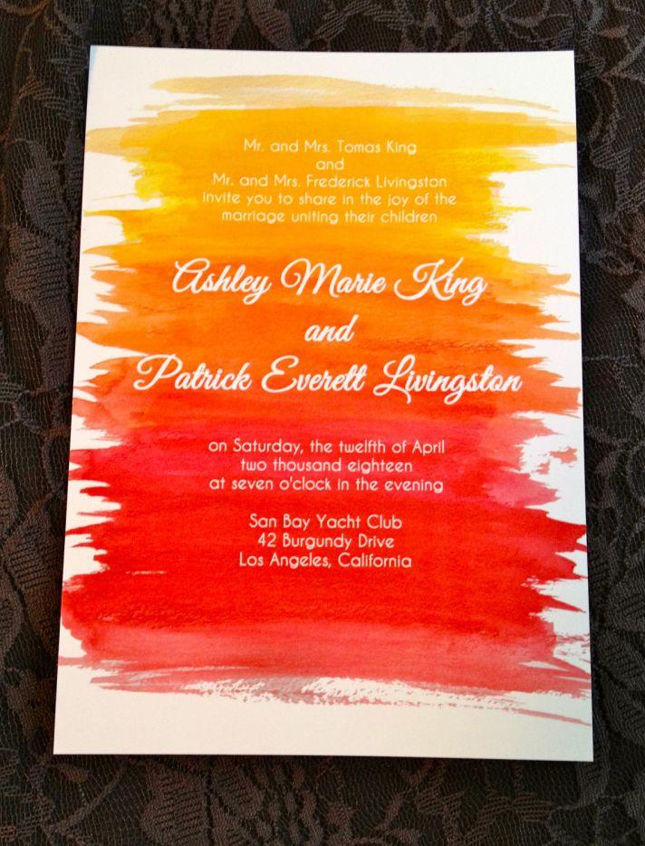 watercolor wedding invitations handmade weddings by Etsy sunset