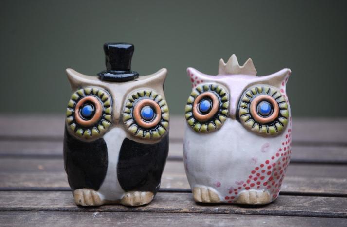 owls for the wedding 2012 reception trends handmade owl custom ceramic cake topper