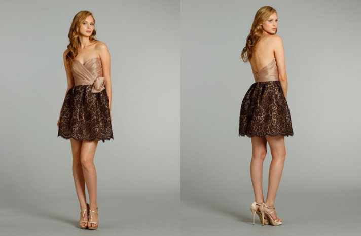 bridesmaids dresses for stylish bridal parties Noir by Lazaro from JLM Couture black lace nude mini