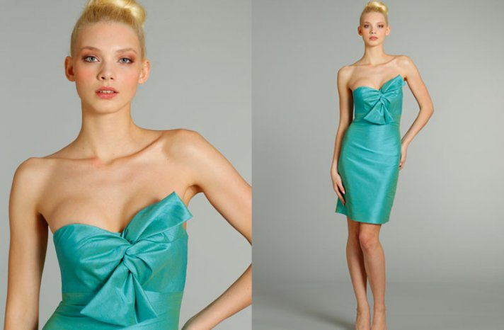 bridesmaids dresses for stylish bridal parties Jim Hjelm from JLM Couture aqua shimmer