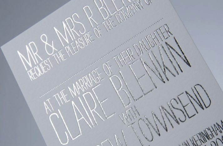 white silver wedding invitations foil stamped