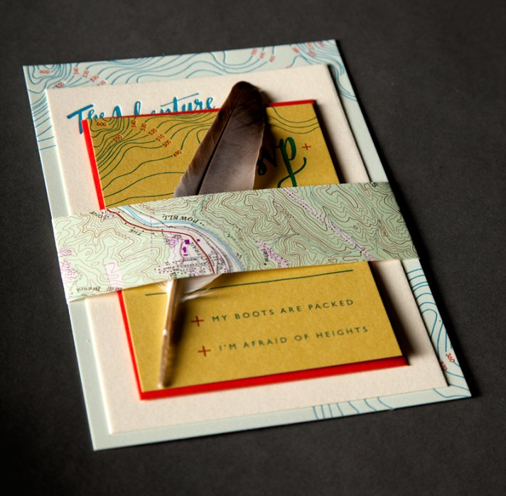 rustic scout wedding invitation