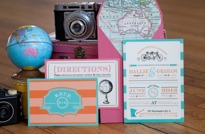 retro wedding invitation suite for travel lovers