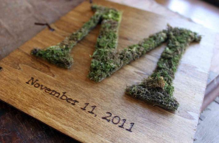memorable moss wedding decor for ceremony reception monogram guest book