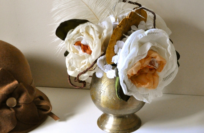 fall wedding flowers bouquets and centerpieces brass vase fabric flowers