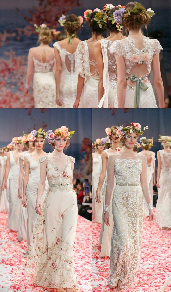 2013 bridal runway Claire Pettibone wedding dresses finale bohemian brides