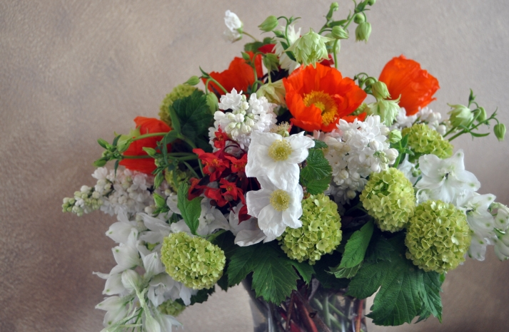 romantic wedding flowers Poppy bridal bouquet reception centerpiece 1