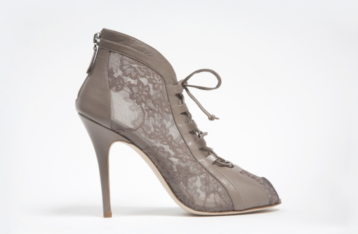 wedding shoes by monique lhuillier Fall 2013 bridal taupe lace booties