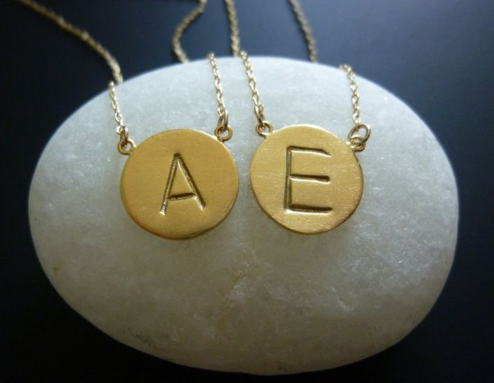 customized wedding jewelry engraved monogram necklace gold initials