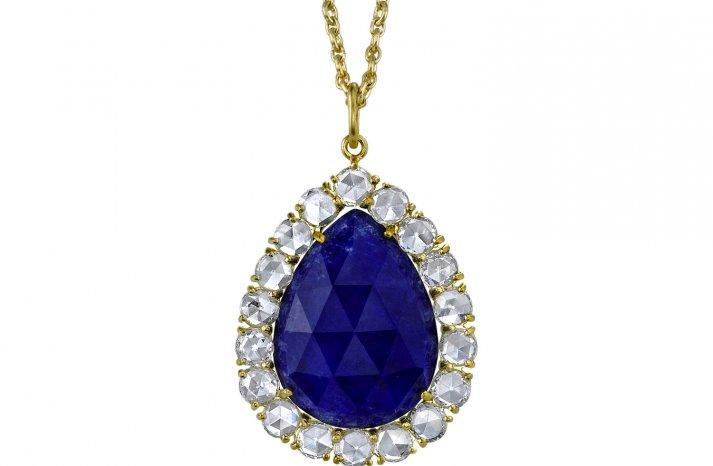 Something Blue Bridal Splurge wedding necklace teardrop sapphire