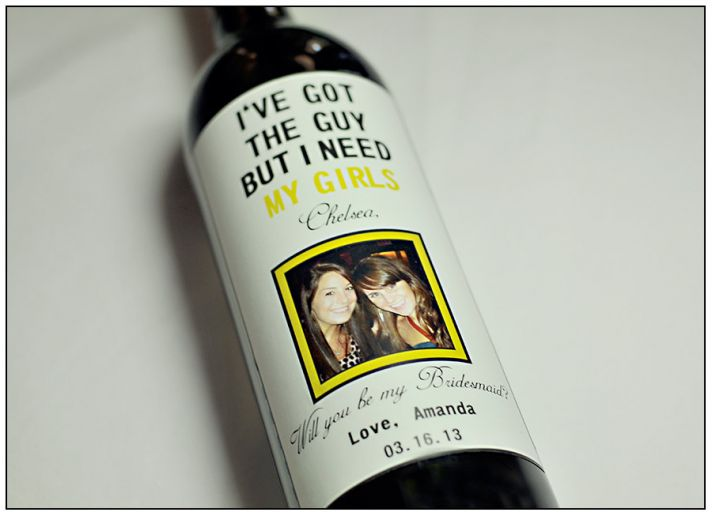 Unique Wedding Ideas to say Will You Be My Bridesmaid wine