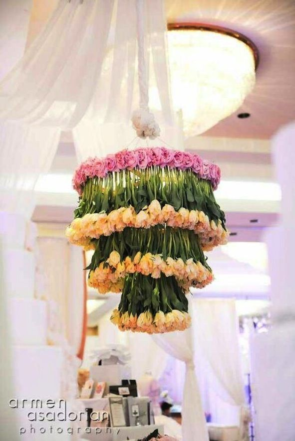 Wedding Ideas We Love Floral Adorned Chandeliers 5