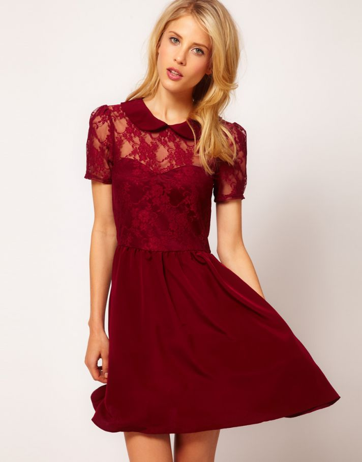 Stylish Bridesmaid Dresses from Asos 2013 Bridal Party Trends maroon lace