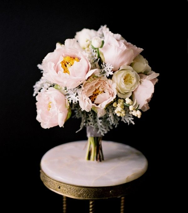 peony rose dusty miller ranunculus bridal bouquet white pink gray grey 600x678