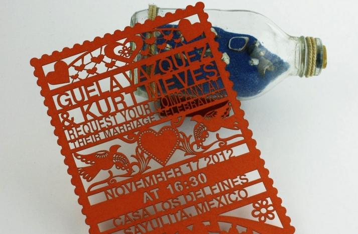 Handmade Wedding Finds Laser Cut orange invite