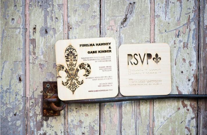 Handmade Wedding Finds Laser Cut wood invite