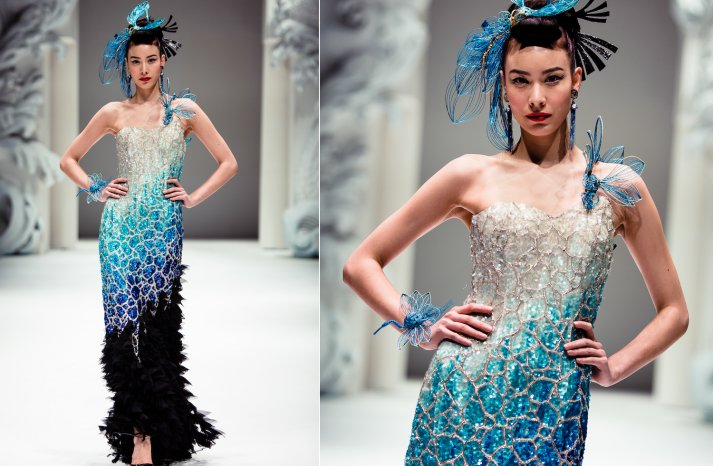 Ocean Inspired Bridesmaid Dress Beaded Couture by Yumi Katsura