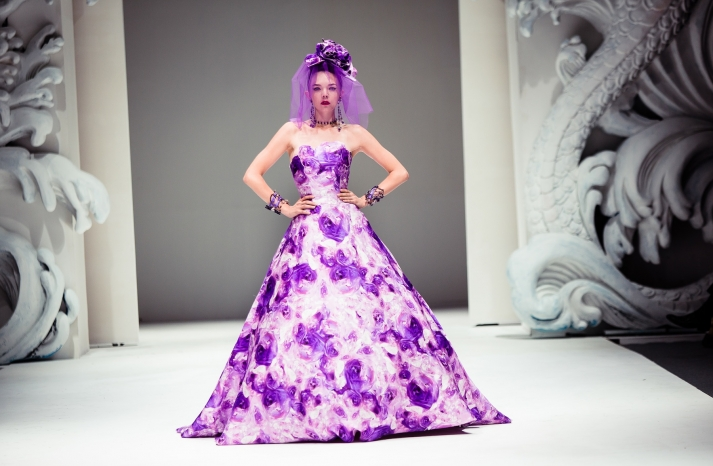 Bold Wedding Inspiration from Yumi Katsura Purple Floral Wedding Dress