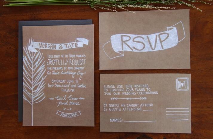 Illustrated Wedding Invitation Rustic Kraft Paper