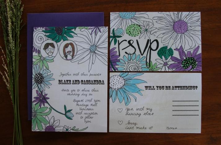 Retro Floral Wedding Invitations Purple Green White
