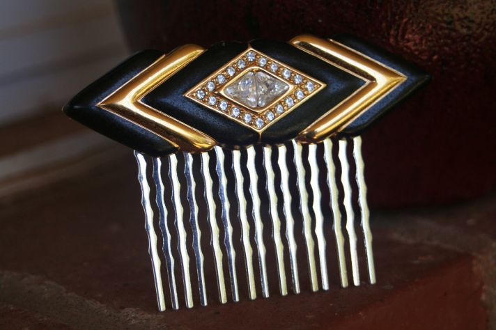 Black Gold Art Deco Wedding Hair Comb