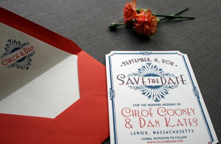 Red Blue Ivory Wedding Invitations Vintage Art Deco