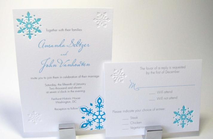 Snowflake Letterpress Wedding Invitation white aqua gray